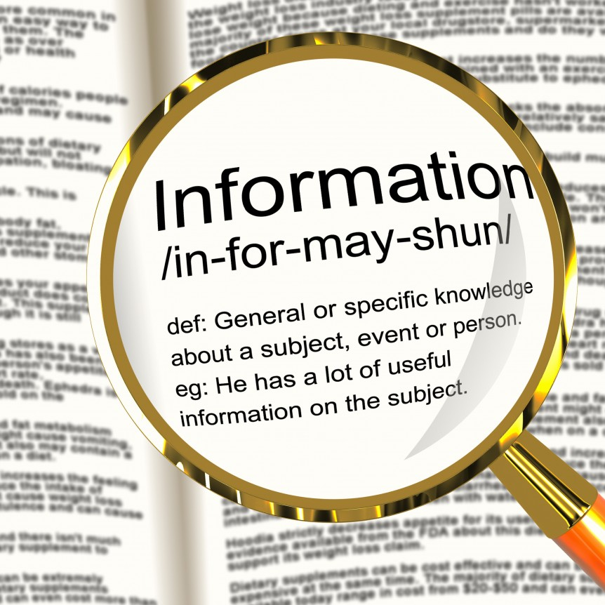 Information Definition Magnifier Showing Knowledge Data And Facts