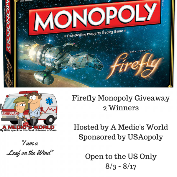 Firefly Monopoly Giveaway - 2 Winners are going to have a chance to win this board game from USAopoly, Firefly and Serenity - Ends 8/17