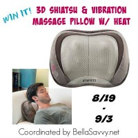 HoMedics 3D Shiatsu & Vibrations Massage Pillow with Heat Giveaway Ends 9/3