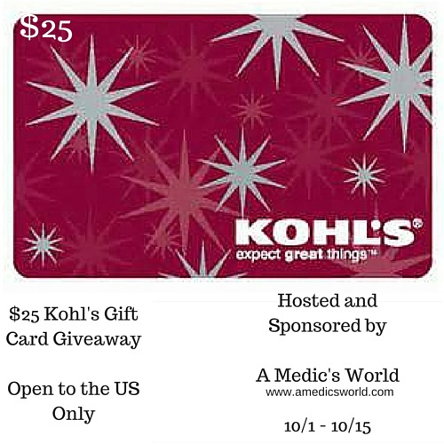 $25 Kohl's Gift Card Giveaway - Ends 10/15 Tom over at A Medic's World is giving away this $25 Kohl's Gift Card to one lucky fan!  Good Luck, and be sure to visit www.amedicsworld.com to keep up with A Medic's World