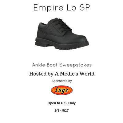Lugz Empire Lo SP Ankle Boots Sweepstakes - Ends 9/17 Enter for a chance to win your very own pair, open to the US only, good luck from A Medic's World